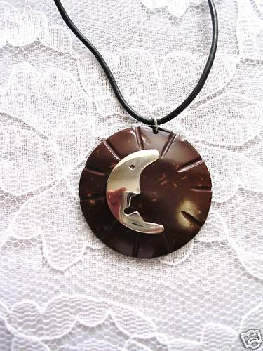 NEW EXOTIC ROUND COCONUT SHELL w MOON CRESCENT SILVER INLAY ADJ NECKLACE