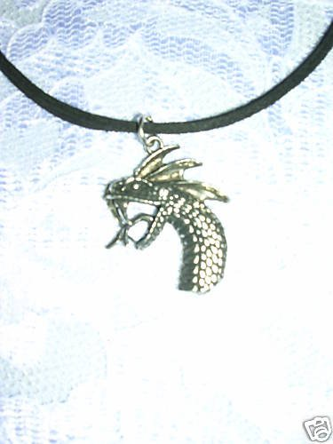 WILD EVIL SERPENT DRAGON HEAD SILVER PEWTER PENDANT ADJ NECKLACE