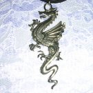 XL GIANT CLASSIC CURVY DRAGON PEWTER PENDANT ADJ NECKLACE FREE MATCHING EARRINGS