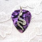 PURPLE GUITAR PICK WILD CURVY SNAKE CHARM PENDANT NECKLACE