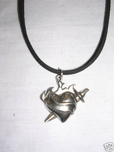 SILVER PEWTER FLAMING HEART w DAGGER INK TATTOO LOOK PENDANT NECKLACE