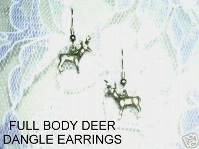 PEWTER FULL BODY BUCK DEER w ANTLERS DANGLING CHARM EARRINGS