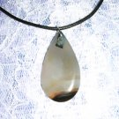 PRETTY TEAR DROP GEMSTONE w GRAY & BROWN SLIDE NECKLACE