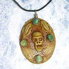HAND MADE CLAY SKULL OVER WOOD 4 AVENTURINE GEMS ADJ CORD NECKLACE