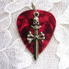 DEEP RED GUITAR PICK PEWTER SKULL DAGGER CHARM PENDANT