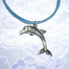 "COOL 3D FULL BODY DOLPHIN PEWTER PENDANT 18"" BLUE NECKLACE"