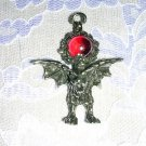 X-LARGE WILD PEWTER PROTECTION GARGOYLE w RED GLASS ORB PENDANT NECKLACE