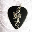 BLACK GUITAR PICK PEWTER DRAGON CHARM PENDANT NECKLACE