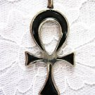 XL LIFE ANHK SYMBOL w BLACK INLAY PEWTER PENDANT ADJ NECKLACE ANKH