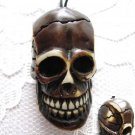 DETAILED RESIN DARK TEA STAINED HUMAN CRANIUM SKULL PENDANT