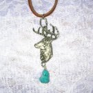 PEWTER TROPHY DEER HEAD w DANGLING TURQUOISE GEM NUGGET PENDANT NECKLACE