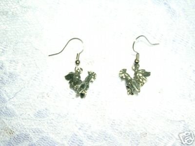 NEW 3D DANGLING BARN YARD ROOSTER SILVER HAND CAST CHARM PEWTER EARRINGS