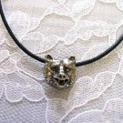 NEW WILDLIFE KODIAK BEAR HEAD FACE SILVER PEWTER PENDANT ADJ NECKLACE