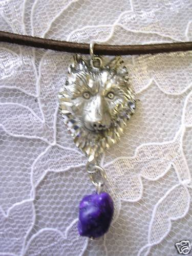 ENGRAVED WOLF HEAD w PURPLE TURQUOISE NECKLACE WOLVES