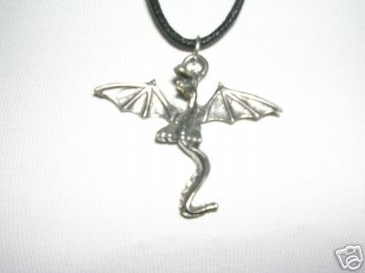 FIRST FLIGHT FANTASY FLYING BABY DRAGON CAST PEWTER PENDANT ADJUSTABLE NECKLACE