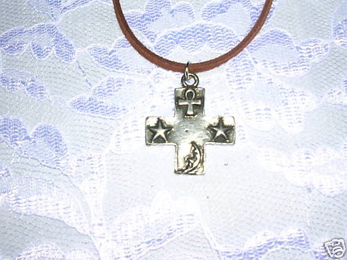 4 CORNERS CELESTIAL CROSS w STARS ANKH MOON PENDANT ADJ CORD NECKLACE