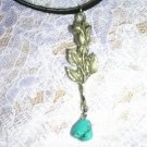 SINGLE STEM ROSE BUD w TURQUOISE PEWTER PENDANT JEWELRY