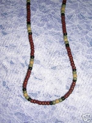 """BURGUNDY BLK OLIVE GRN COCO BEADS JEWELRY 18"""" NECKLACE"""
