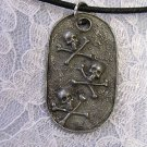 VINTAGE PEWTER SKULL & CROSS BONES DOG TAG 80'S PENDANTS NECKLACES