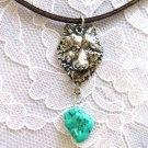 APEX WILDLIFE WOLF HEAD w SEA GREEN TURQUOISE PENDANT ADJ NECKLACE WOLVES