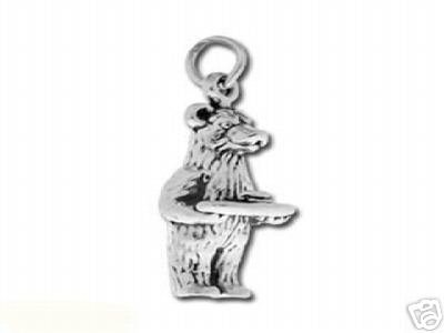 3D 925 STERLING SILVER BUTLER BEAR CHARM JEWELRY PENDANT