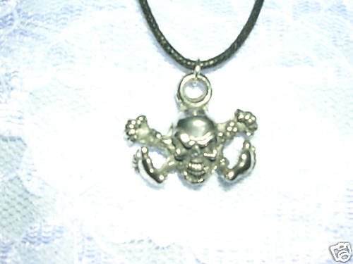 ANGRY BABY SKULL FISTS FLYING PEWTER PENDANT NECKLACE