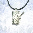 ELECTRIC GUITAR ON CRACKED BLOCK PEWTER PENDANT NECKLACE