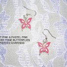 NEW HOT PINK BUTTERFLY SILVER TONE BUTTERFLIES EARRINGS