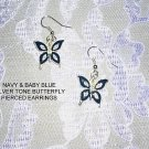 2 TONE BLUE BUTTERFLY SILVER TONE BUTTERFLIES EARRINGS