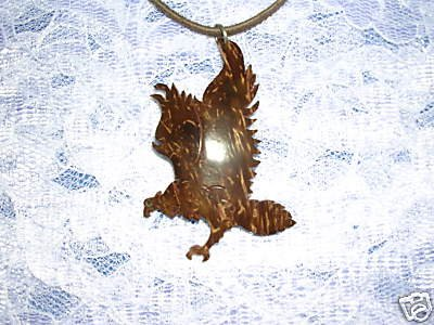 LASER CUT OUT FLYING EAGLE WIND SPIRIT EXOTIC COCONUT SHELL PENDANT ADJ NECKLACE
