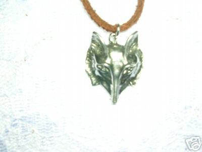 """CRAZY LIKE A FOX PEWTER PENDANT ANIMAL FACE - HEAD 18"""" NECKLACE"""