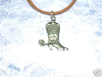 PEWTER WESTERN COWBOY BOOT PENDANT JEWELRY ADJ STRING NECKLACE