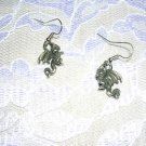 3D CAST USA PEWTER FANTASY DRAGON DROP CHARM DANGLING EARRINGS FANTASY JEWELRY