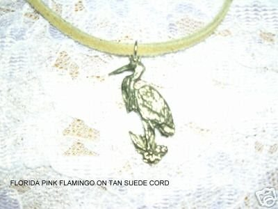 CALSSIC TROPICAL FLORIDA FLAMINGO BIRD / CRANE SILVER PEWTER PENDANT ADJ NECKLACE