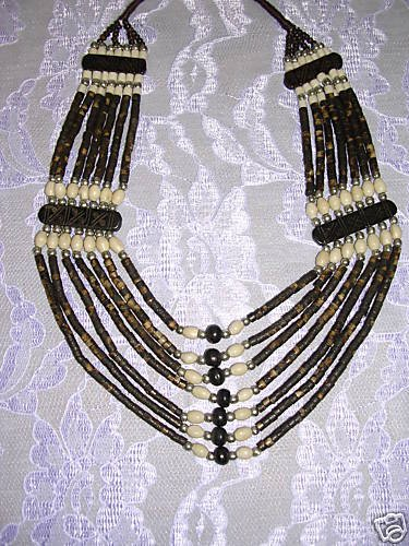 NATURAL BROWN COLOR 7 STRAND GRADUATING BONE BEAD CHOKER NECKLACE