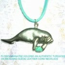 LARGE SEA COW ENDANGERED MANATEE w TURQUOISE NUGGET PENDANT SUEDE CORD NECKLACE