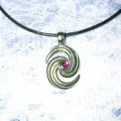 "HURRICANE SWIRL w PINK GEM PEWTER PENDANT 28"" NECKLACE"