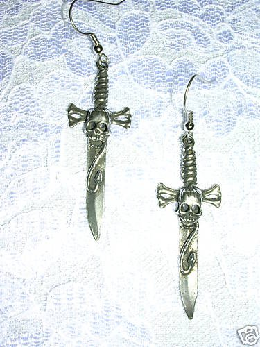 NEW WICKED PEWTER SKULL & SNAKE SWORD DANGLING BLADES METAL EARRINGS