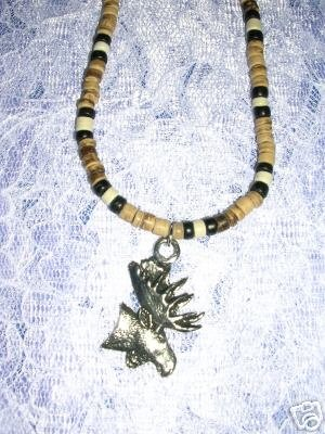 "COOL PEWTER MOOSE PROFILE BEADED JEWELRY 18"" NECKLACE"
