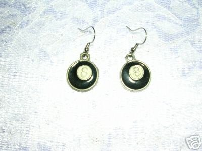 WILD BLACK & WHITE REALISTIC EIGHT 8 BALL DANGLING WIRE FASHION EARRINGS