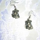 NEW NATIVE ISNSPIRED INDIAN CHIEF SILVER COLOR CAST PEWTER DANGLING CHARM EARRINGS JEWELRY