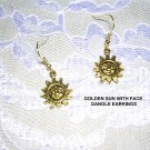 NEW GOLDEN SUN CELESTIAL / SUNFLOWER FACE NATURE DANGLING EARRINGS
