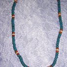 "TURQUOISE TERRA COTTA NAT WHITE COCO BEADS 18"" NECKLACE"