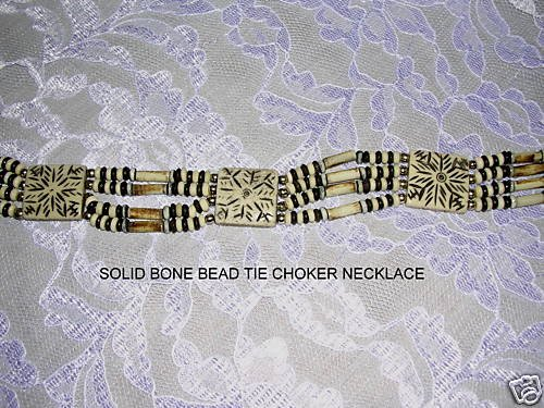 4 ROW ANTIQUED IVORY & BROWN COLORS BONE BEAD CHOKER TIE NECKLACE