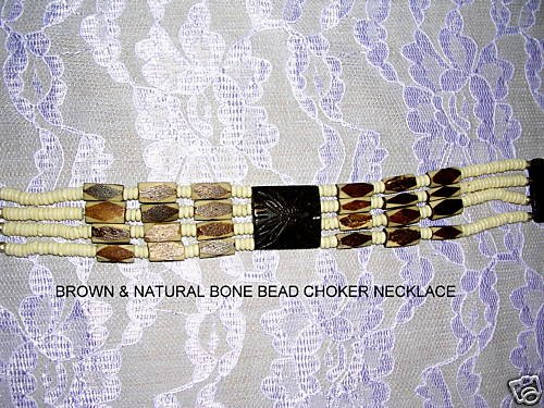 UNIQUE NATIVE STYLE BROWN & NATURAL IVORY COLOR BONE BEAD CHOKER TIE ON NECKLACE