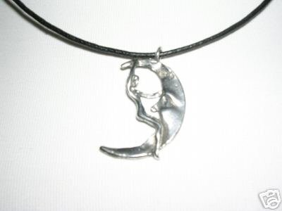 VINTAGE LOOK SEXY NAUGHTY GIRL RIDING THE MOON USA CAST PEWTER PENDANT NECKLACE