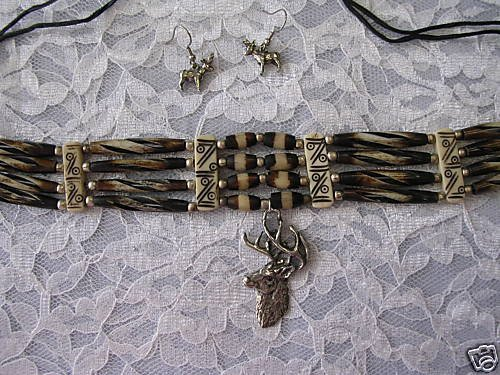 BROWN RAZOR CUT BONE HAIRPIPE BEAD CHOKER NECKLACE WITH DEER PENDANT