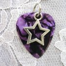 NEW PURPLE GUITAR PICK w ROCK STAR CHARM PENDANT NECKLACE