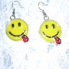 FUN IMOGI CLASSIC SMILEY FACE w TONGUE OUT INLAY PEWTER EARRINGS JEWELRY
