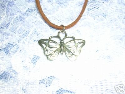 TRIBAL TATTOO LINES BUTTERFLY SILVER PEWTER PENDANT ADJ CORD NECKLACE